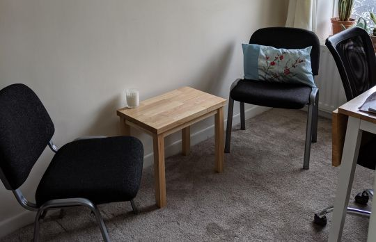 Consulting Room of Blackburn Accredited Psychotherapist Jill Beardsworth