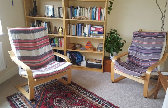 Consulting Room of Bexhill-on-Sea Registered Psychotherapist Sue Crofton